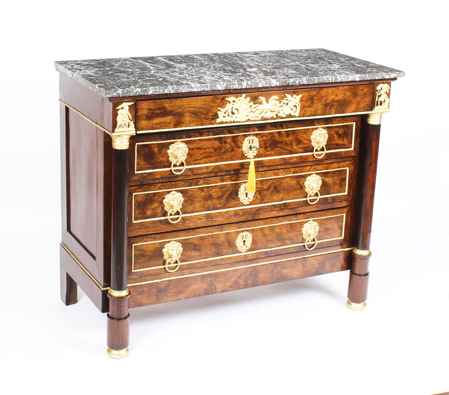 Antique Antique French Empire Chestnut Commode Chest Marble Top c.1860