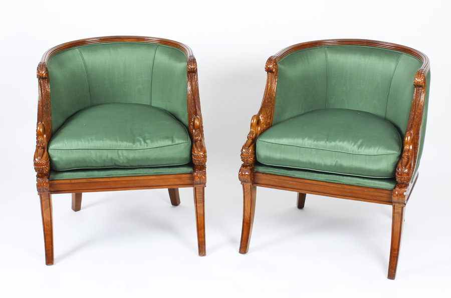 Antique Pair Empire Revival Gilded Swan Neck Walnut Armchairs 20th C