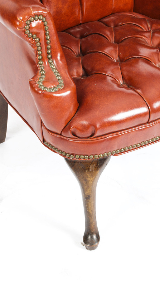Antique Antique Leather Chippendale Wingback Chair Armchair C1900
