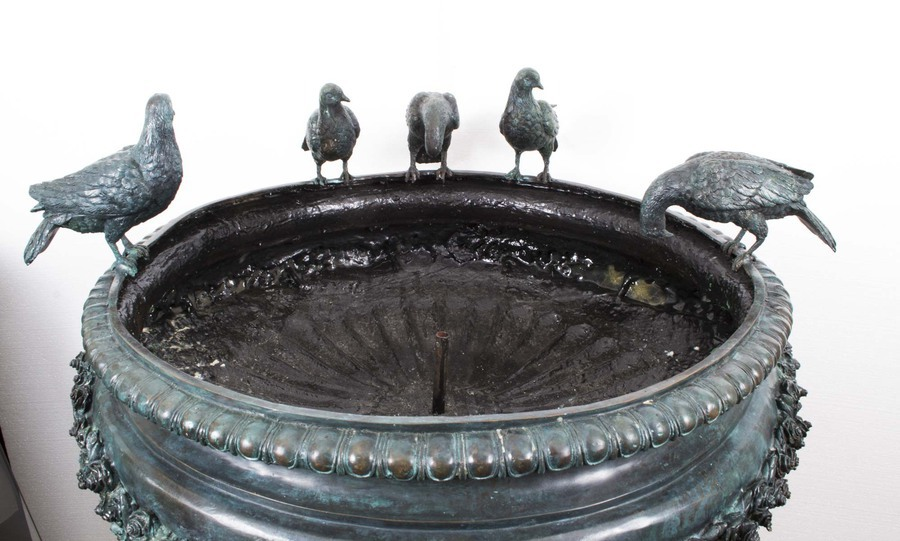 Antique Stunning Large Bronze Urn Garden Fountain Bird Bath Jardiniere