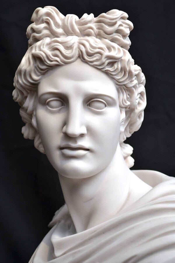 Antique Stunning Marble Bust of Greek God Apollo