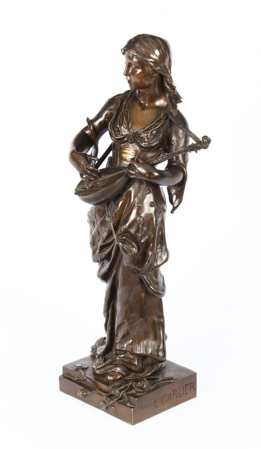 Antique Antique 2ft Bronze Maiden Playing a Lute, by Albert Ernst Carrier 19th C