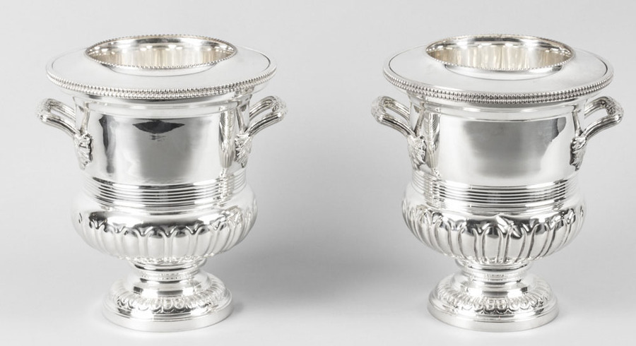 Antique Pair English Silver Plate Wine & Champagne Coolers