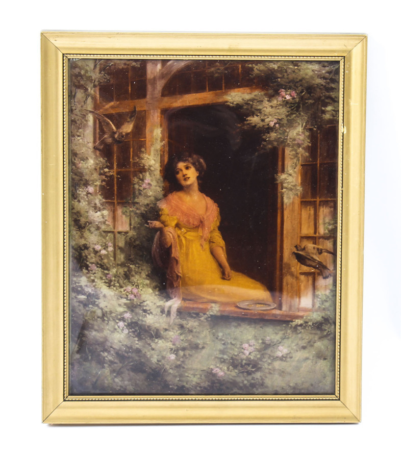 Antique Victorian Crystoleum Picture Painting of a Lady by a Window 19th C