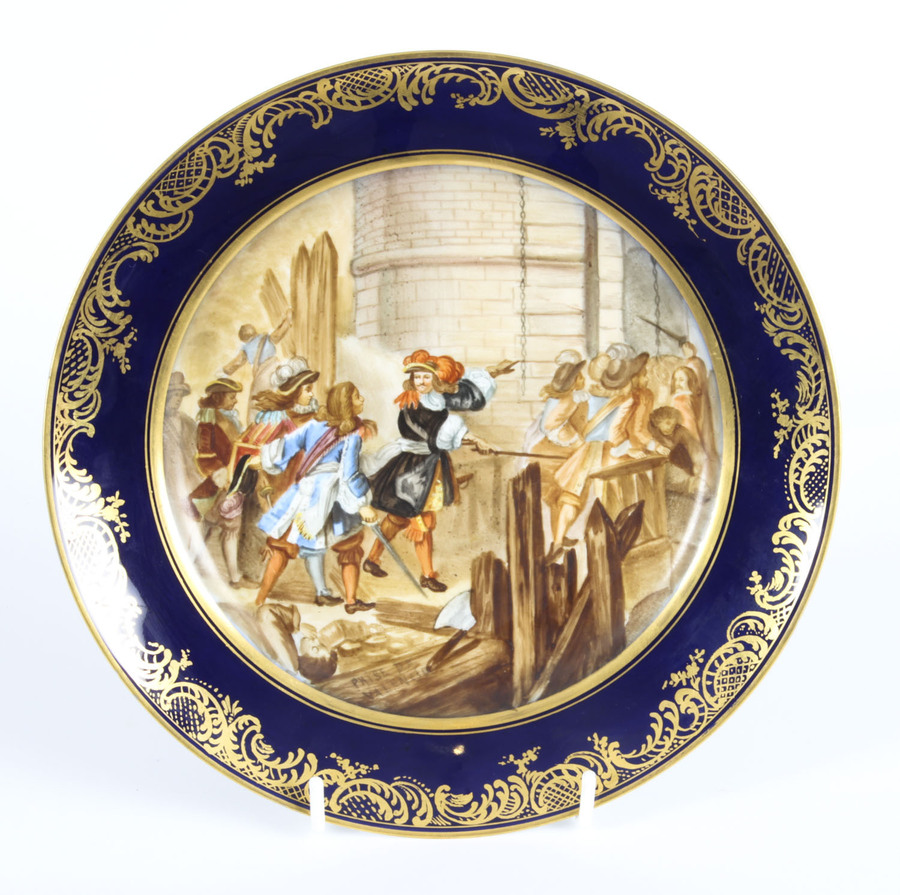 Antique Antique French Sevres Porcelain Gilt Plate