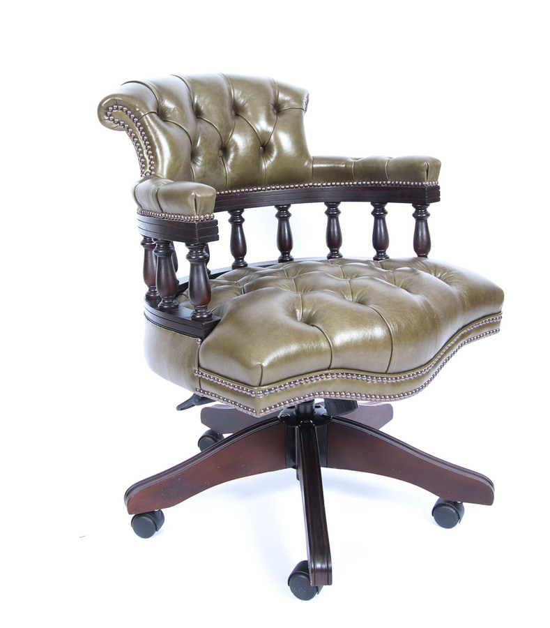 Antique Bespoke English Hand Made Leather Captains Desk Chair Olive Green