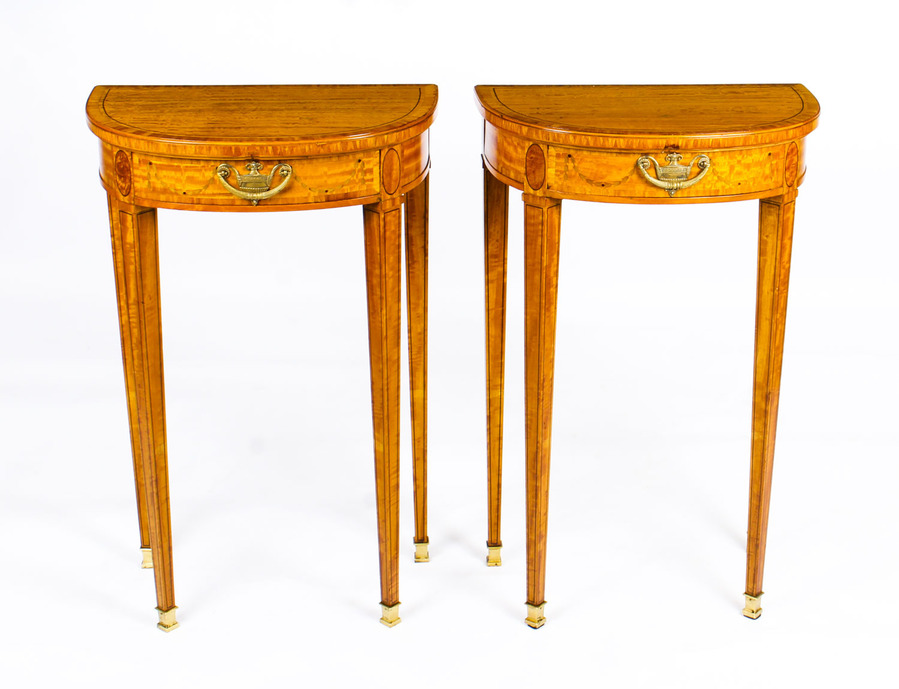 Antique Antique Pair Adam Revival Demilune Satinwood Side Console Tables 19th C