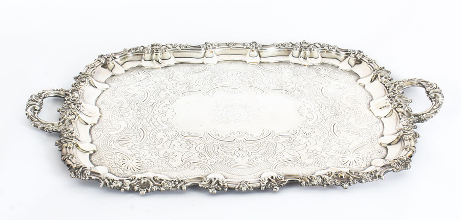 Antique Antique George III Old Sheffield Silver Plated Tray C 1830