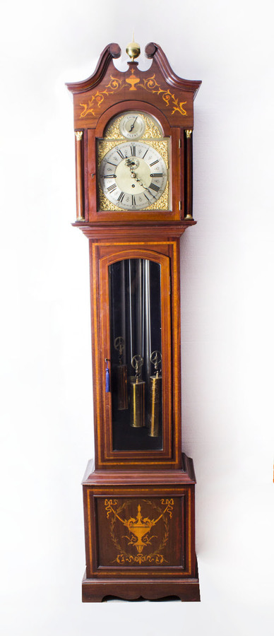 Antique Antique English 5 Tube Musical Longcase Clock c.1900