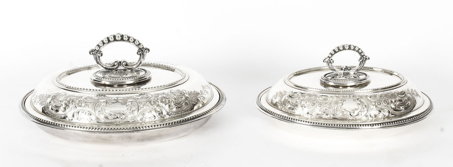 Antique Antique Pair Engraved Entree Dishes Oval Tureens & Covers Late 19th Century