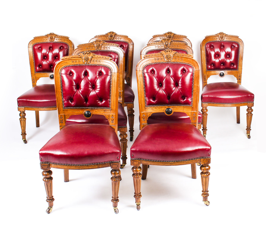 Antique Antique Set 8 English Carved Oak Leather Upholstered Dining Chairs C1860 19thC