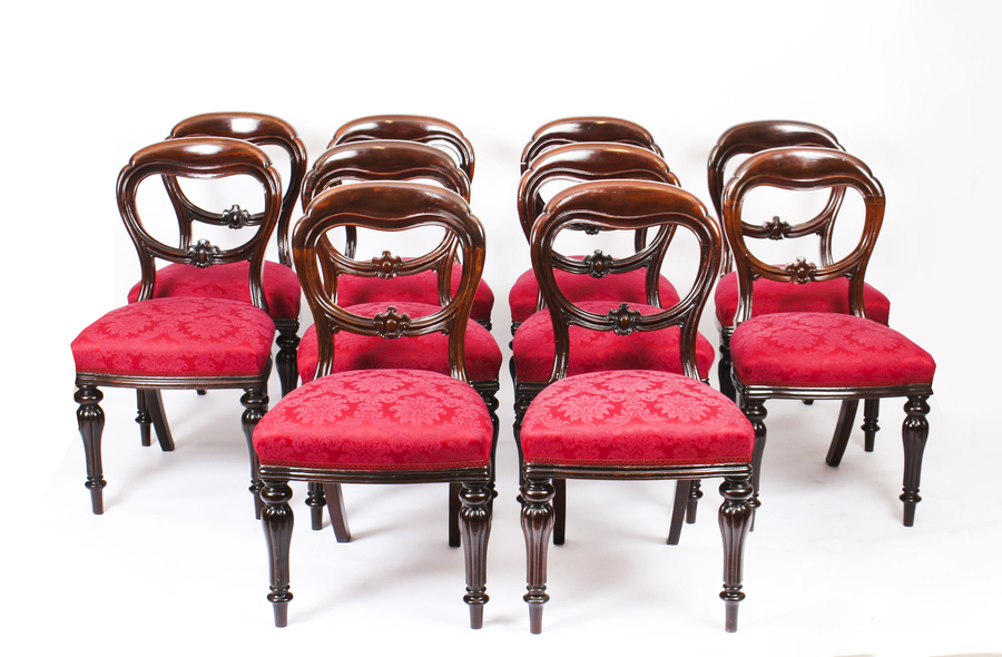 Antique Antique Set 10 Victorian Mahogany Balloon Back Dining Chairs 19th Century