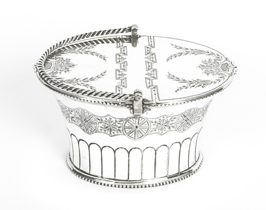 Antique Antique Silver Plated Victorian Sweet Basket 19th C