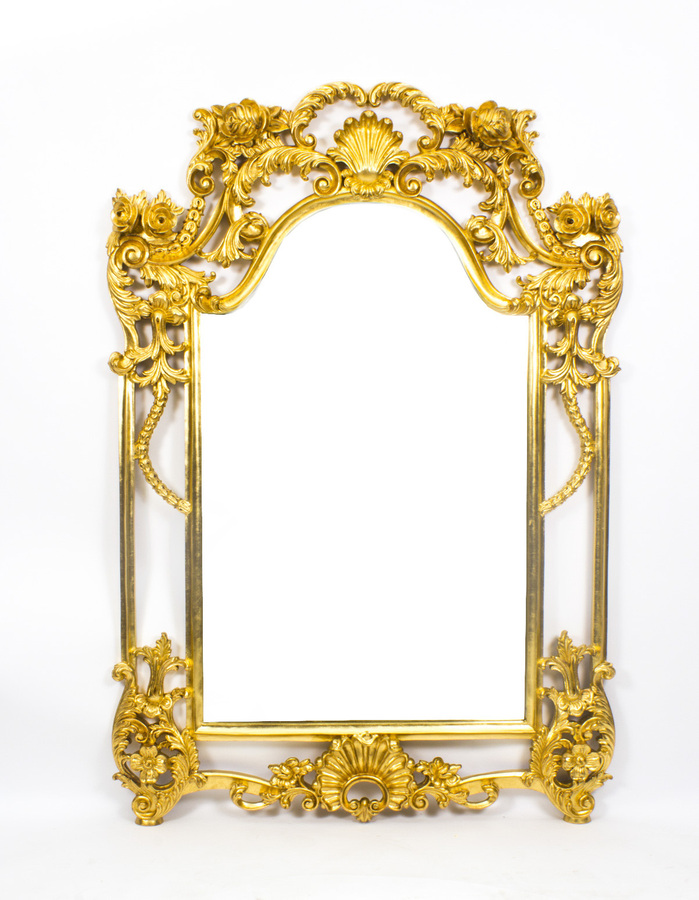 Antique Beautiful Decorative Luis Revival Carved Giltwood Mirror 163 x 113 cm