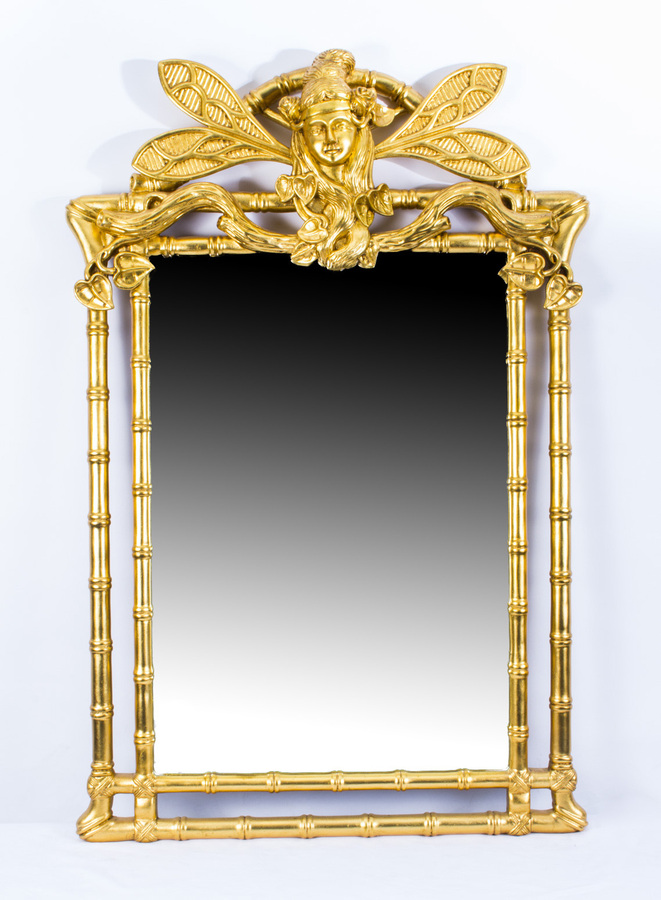 Antique Beautiful Decorative French Giltwood Art Nouveau Mirror 150 x 79 cm