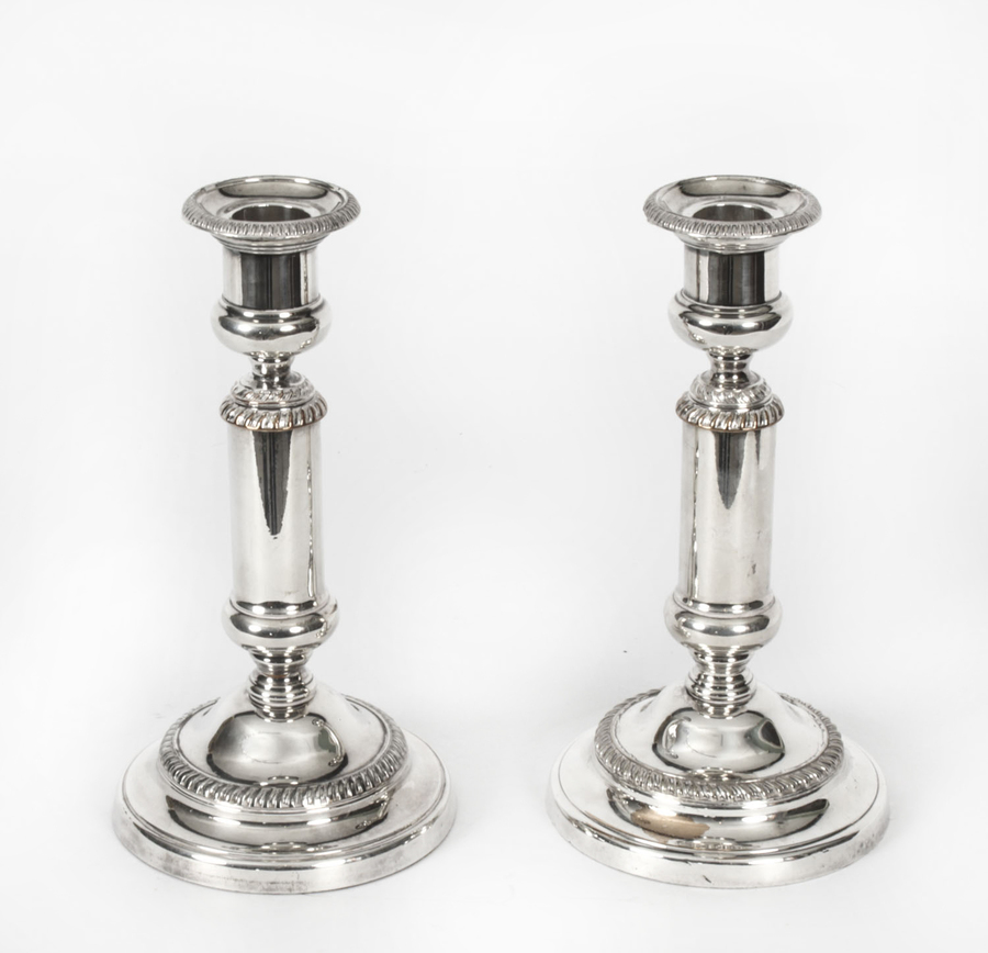 Antique Antique Pair Victorian Silver Plated Telescopic Candlesticks 19th C