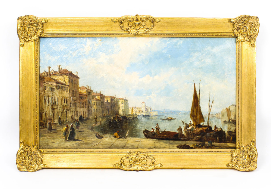 Antique Antique Oil Painting Venetian Scene of The Grand Canal J.Vivian 19th C