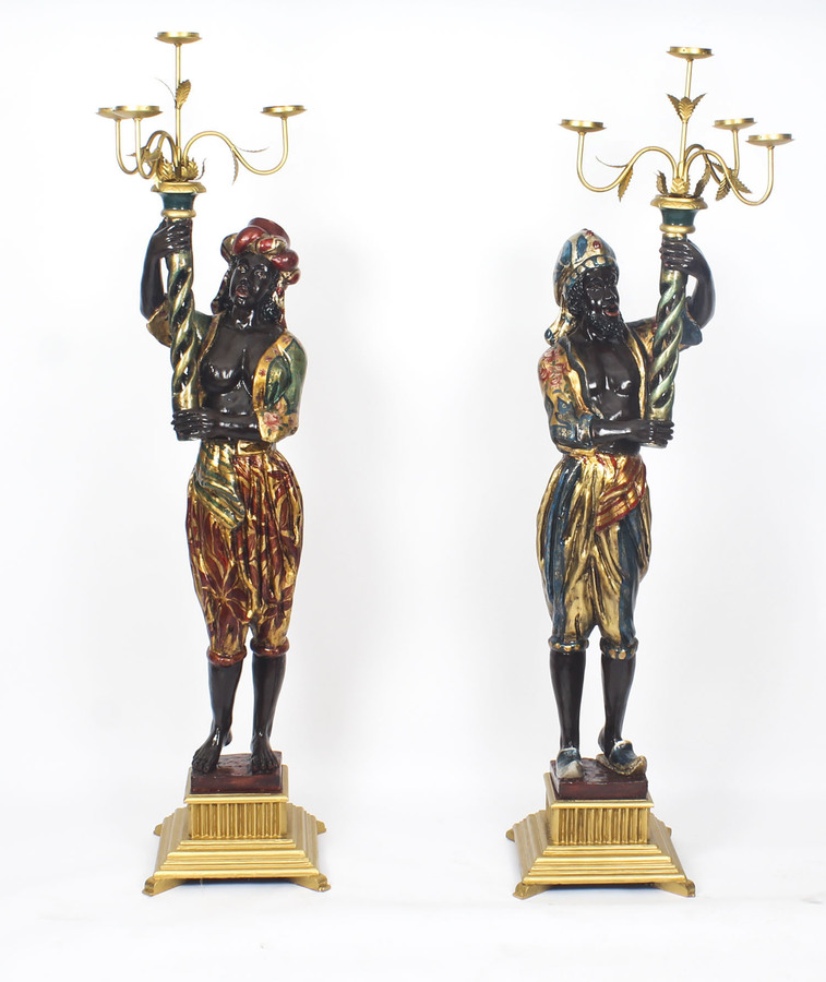 Antique Antique Pair of Carved Wood Venetian Blackamoor Candelabras 19th C