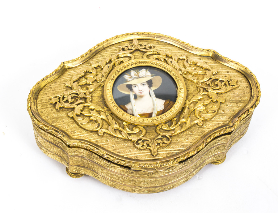Antique Antique Gilt Bronze Jewellery Casket & Miniature c.1870