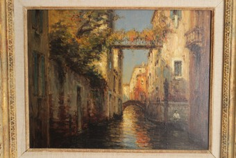 Antique Oil on canvas by Colette Bouvard fully signed and titled Bridge between the houses Venice