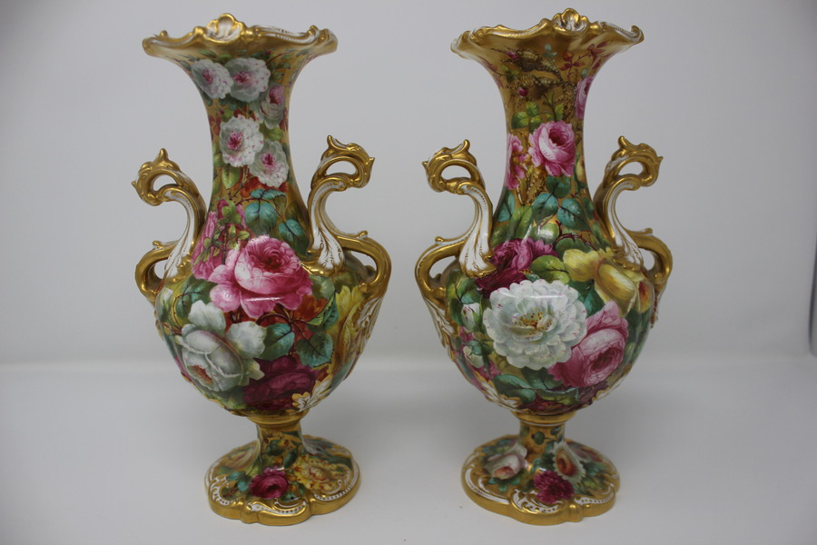 Early 20thC Pair Spode Handpainted Vases - Thomas Hassall (1878 - 1940)