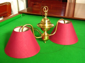 Brass billiard table light for small billiard snooker pool table