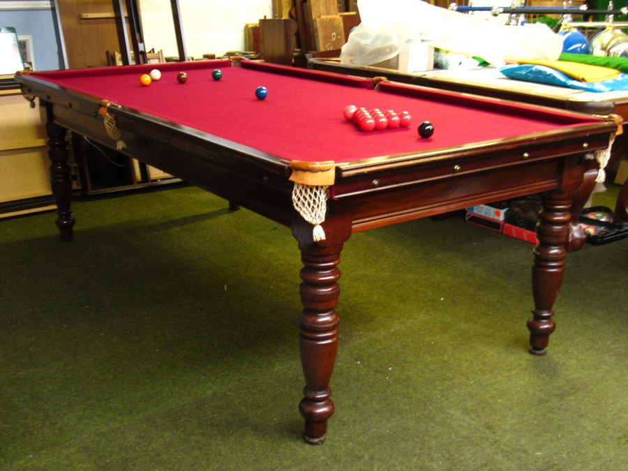 8ft x 4ft Riley antique slate bed billiard table in mahogany, c1910, 4 turned legs