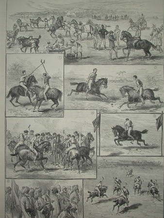 Antique Polo in India the illustrated London News April 29th 1882 professionally mounted print
