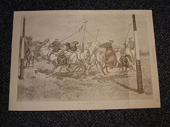 Antique Going for goal a 1893 print of a polo match from the L'illustration 7th October 1893 French edition professionally mounted