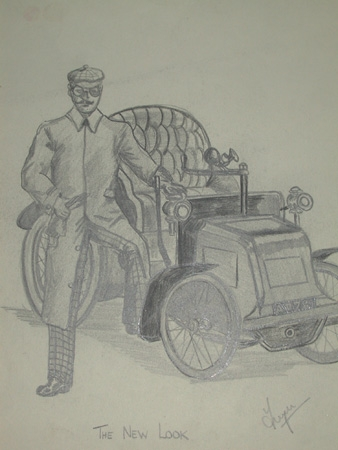 Antique An original racing drawing by artist Van Fryer unframed professionally mounted and inscribed The New Look