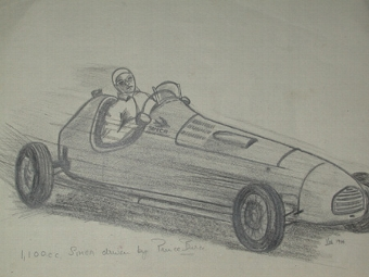Antique An original drawing by racing artist Van Fryer un framed professionally mounted and inscribed 1,100 cc Simca driven by Prince Bircie