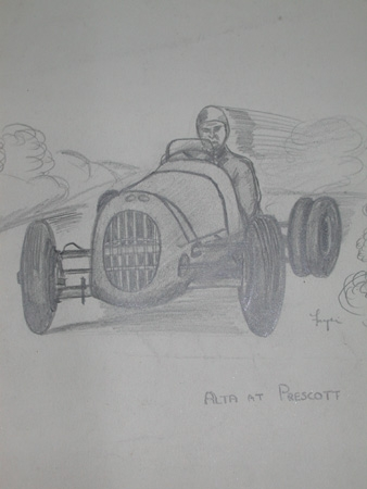 Antique An original drawing by racing artist Van Fryer unframed Alta at Prescott professionally mounted and signed Fryer