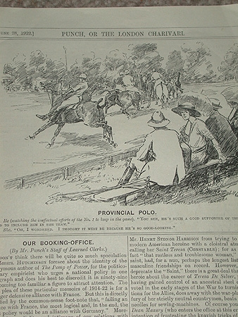 Antique This is a delightful cartoon depciting two people having a conversation about the game of polo professionally mounted