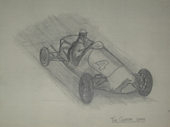 Antique An original unframed drawing by racing artist Van Fryer professionally mounted inscribed The Cooper 1000 dated 49