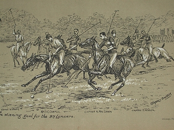 Antique Cuthbert Bradley illustration circa 1888 The winning goal for the 9th Lancers professionally mounted