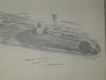Antique An original unframed drawing by racing artist Van Fryer professionally mounted and inscribed Maserati driven by Alberto Ascari Scuderia Ambrosiana