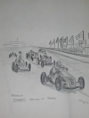 Antique An original drawing by racing artist Van Fryer unframed professionally mounted inscribed Parnells Maserati Racing at Jersey