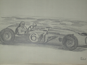 Antique An original drawing by racing artist Van Fryer unframed professionally mounted and inscribed Talbot driven by Chiron