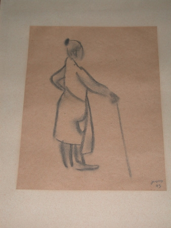 Antique Floris Jespers belgian 1869-1965 pencil and charcoal on paper framed a lady with a stick signed Jespers and dated 1943