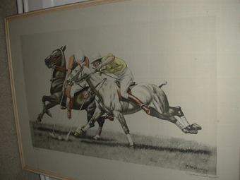Antique Polo print after Francisque Rebour inscribed sigend Cariola Lucas NYC 1985 framed