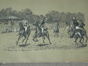 Antique Cuthbert Bradley antique print circa 1893 The Royal Day at Ranelagh professionally mounted