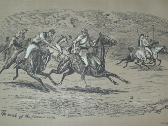 Antique Cuthbert Bradley antique print The rush of the furios ride circa 1893professionally mounted