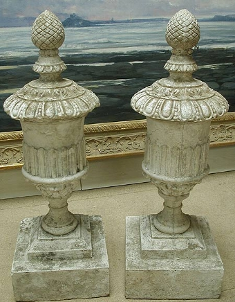 Antique A  good pair of  early 20th century composition stone finials circa 1940