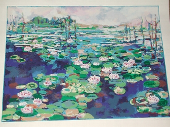 Antique A 20th century lithograph of a lilly pond artists proof numbered 13/50unframed and signed