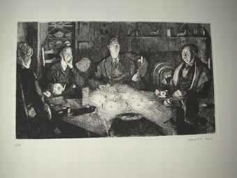 Antique A limtied edition etching by E R Payne signed and numbered 14/50 The candlelight