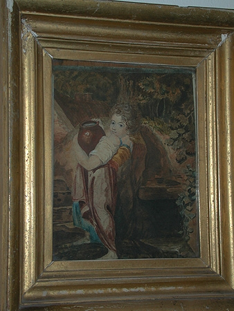 Antique A framed watercolour of a boy carrying an urn 19th century. Orignally purchased from T Schotte Antiques