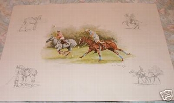 A framed 20th century print of polo players and sketches indistincly signed and dated 83