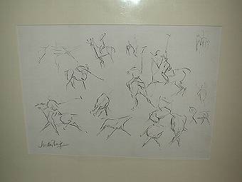 Antique An original drawing pencil on paper by Judy Boyt of polo scenes