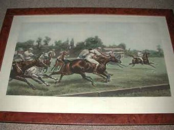 Antique After Geoffrey  Douglas Giles  painter of Military and Equestrian subjects Born in India in 1857  Suffolk School The Polo match framed print on paper published June 11th 1904 late 20th century print