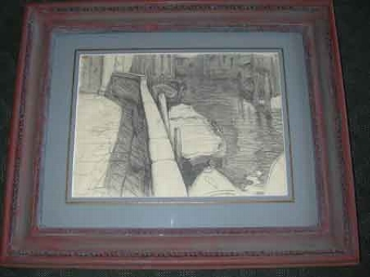 Antique Tim Rukavina American 20th century pencil on paper a framed A view of a canal in Venice